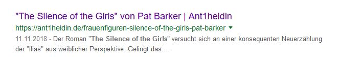 Metadaten für Artikel The Silence of the Girls