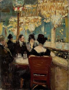 "Gemälde Lesser Ury ""Galerie im Café Vaterland"""